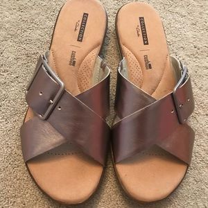 b33f3fa9f Clarks Shoes - Clarks Kele Heather Sandal. Metallic Pewter